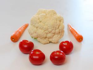 Blumenkohl, Tomaten, Karotten