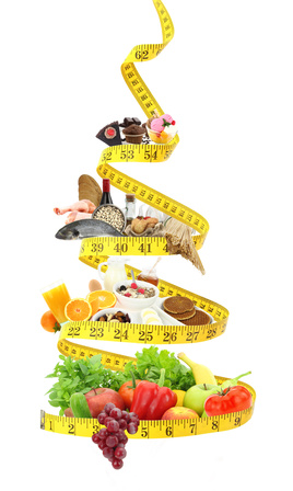 Diet food pyramid with measure tape